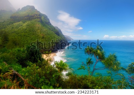 Stunning view from Kalalau trail in Kauai, Hawaii - stock photo