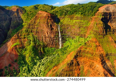 Stunning view into Waimea Canyon, Kauai, Hawaii - stock photo