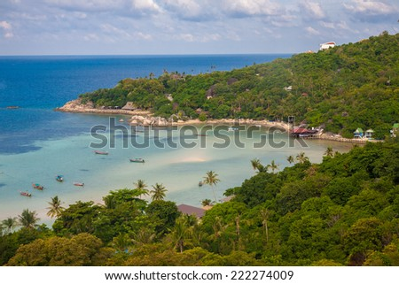 Stunning View Of Chalok Ban Bay On Koh Tao In Thailand - stock photo