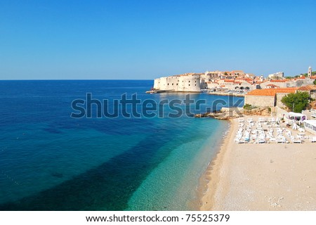 Stunning view of Dubrovnik beach - stock photo