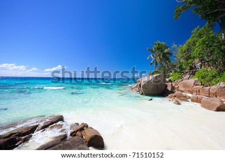 Stunning view of idyllic beach in Seychelles