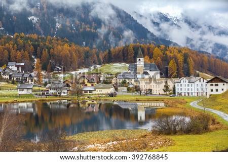 Stunning view of Lai Da Tarasp near Scuol in Engardin, Graubunden (Grisons) of Switzerland. - stock photo
