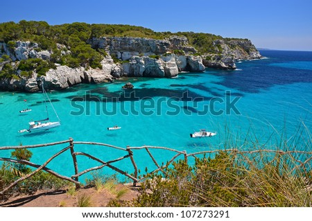 Stunning view of Macarella bay and azure sea water, Menorca, Balearic Islands, Spain
