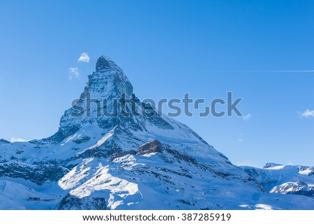 Stunning view of Matterhorn in Winter, Canton of Valais, Switzerland