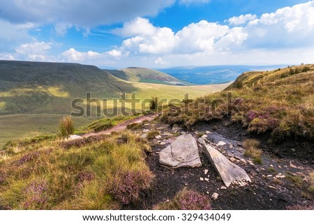 Stunning View of Mountains in national park Breckon Beacons in Wales. - stock photo