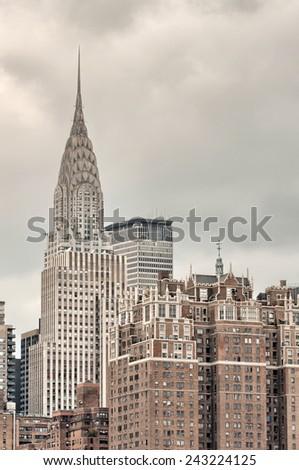 Stunning view of New York Skyline. Group of tall Manhattan skyscrapers. - stock photo