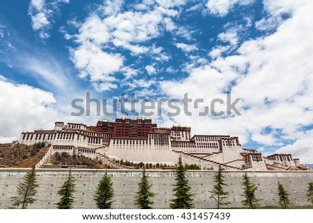 Stunning view of Potala Palace in Lhasa of Tibet, China - stock photo
