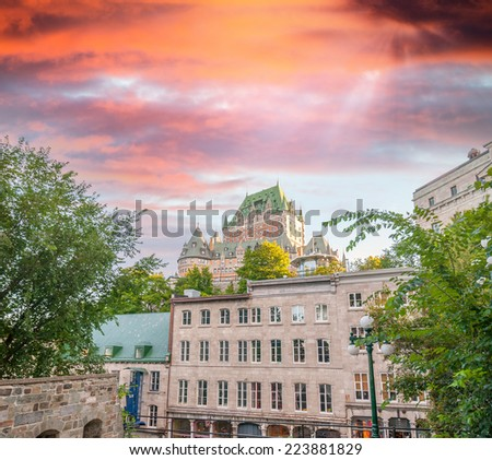 Stunning view of Quebec City at dusk. City buildings and Chateau de Frontenac. - stock photo