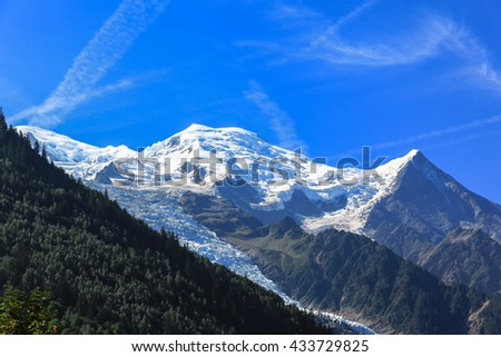 Stunning view of the peak Mont Blanc (the highest mountain in the Alps, from Chamonix, France - stock photo