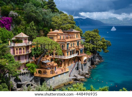 Stunning view on a beautiful bay before storm in Portofino, Italy - stock photo