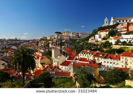 Stunning view on Lisbon city. - stock photo