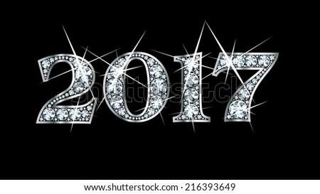 Stunningly beautiful 2017 set in diamonds and silver. Raster bitmap JPG file. - stock photo