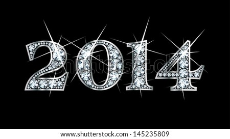 """Stunningly beautiful """"2014"""" set in diamonds and silver. Raster copy. - stock photo"""