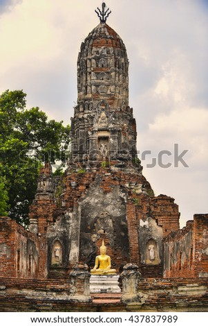 Stupa ancient temple in ayutthaya province thailand, Architecture ancient temple in ayutthaya province thailand - stock photo