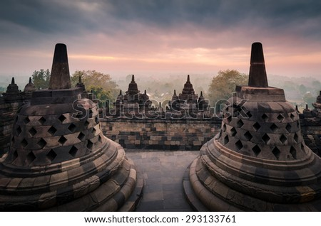 stupa in borobudur at sunrise