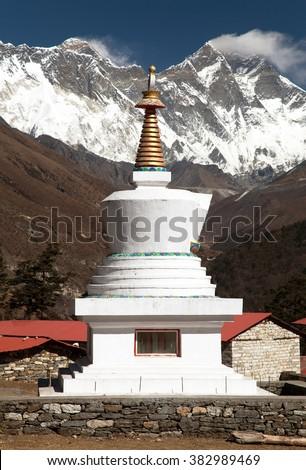 Stupa, Lhotse and top of Everest from Tengboche monastery with beautiful sky - Way to Everest base camp, Sagarmatha national park, Khumbu valley, Nepal  - stock photo