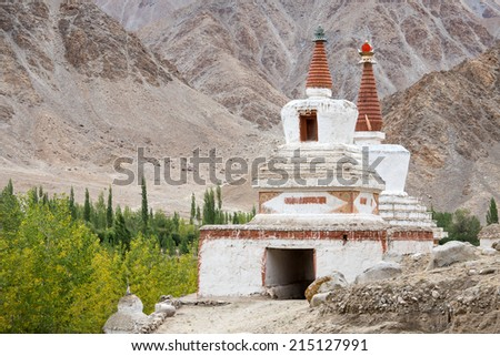 Stupa near Chemdey gompa, Buddhist monastery in Ladakh, Jammu & Kashmir, India  - stock photo