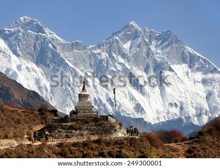 Stupa near Namche Bazar and Mount Everest, Lhotse and Nuptse south rock face - way to Everest base camp - Nepal - stock photo