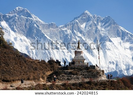 Stupa near Namche Bazar and Mount Everest, Lhotse and Nuptse - way to Everest base camp - Nepal - stock photo