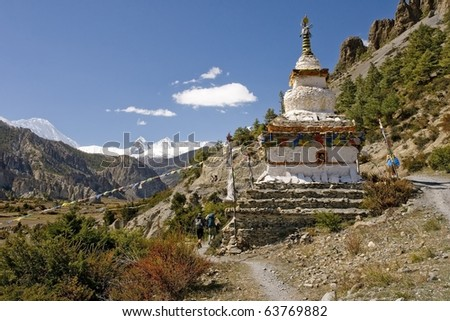 Stupa on the way in Himalaya - stock photo