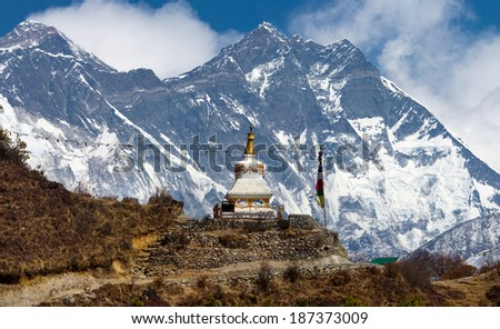 Stupa  on the way to Everest Base Camp in Himalayas, Nepal  - stock photo