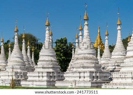 Stupas around the Sandamuni Pagoda in Mandalay, Myanmar - stock photo