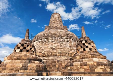 Stupas in Borobudur Temple, Central Java, Indonesia - stock photo