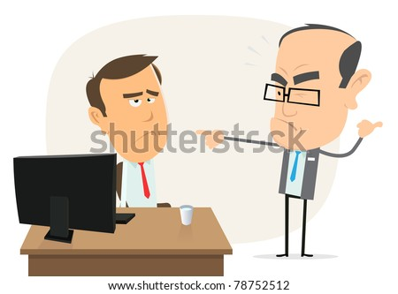 Stupid Boss/ Illustration of a humorist scene with boss bawling out at his employee