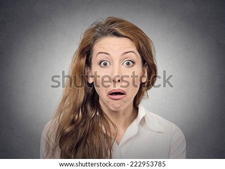 stupor surprised funny face expression - stock photo