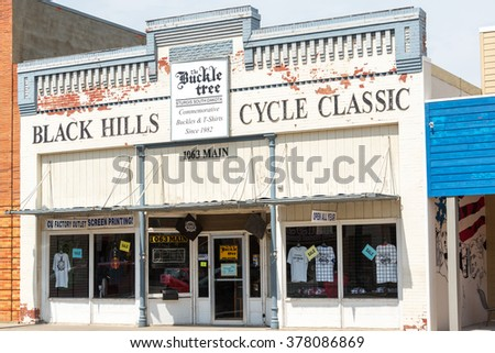 STURGIS, SD - AUGUST 26: View of a souvenir store in Sturgis, South Dakota on August 26, 2015