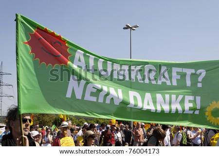 STUTTGART - APRIL 25 : Demonstration against nuclear power in Neckarwestheim, Germany. April 25, 2011 in Stuttgart, Germany - stock photo