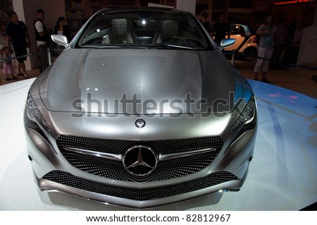 "STUTTGART - AUGUST 14 : Mercedes-Benz presenting the ""Concept A-Class"" at event ""Sternstunden - 125 years Mercedes-Benz"" on August 14, 2011 in Stuttgart, Germany"