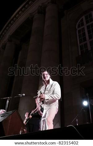 """STUTTGART - AUGUST 04: The musician and singer """"Eric Prinzinger"""" in concert at summer Festival Stuttgart August 04, 2011 in Stuttgart, Germany. - stock photo"""