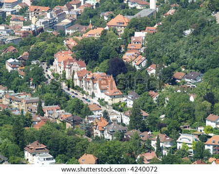 Stuttgart city view from oldest tv tower - stock photo