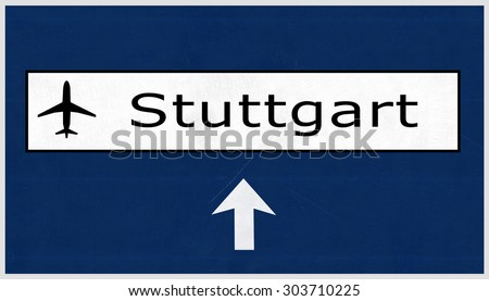 Stuttgart Germany Airport Highway Sign 2D Illustration - stock photo