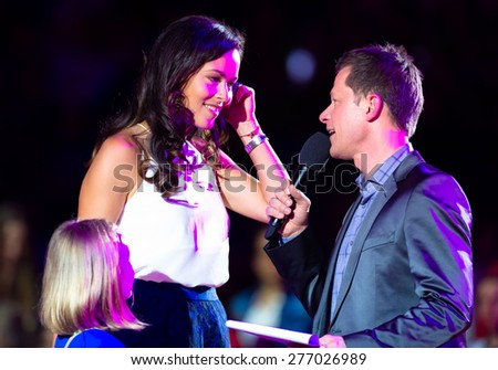 STUTTGART, GERMANY - APRIL 20 : Ana Ivanovic is being interviewed during the opening ceremony of the 2015 Porsche Tennis Grand Prix  - stock photo