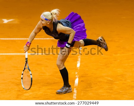 STUTTGART, GERMANY - APRIL 19 : Bethanie Mattek-Sands in action at the 2015 Porsche Tennis Grand Prix WTA Premier tennis tournament