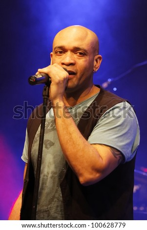 "STUTTGART, GERMANY - APRIL 14: Musician ""Charles Simmons"" live in concert on stage at the festival ""Night of Music"" April 14, 2012 in Stuttgart - stock photo"