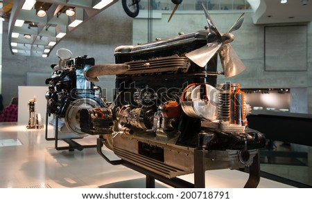STUTTGART, GERMANY - APRIL 19, 2014: Vintage Mercedes-Benz Aeroplane engines on display at the Mercedes-Benz Museum.
