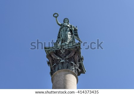 Stuttgart, Germany: Close up of goddess Concordia on top of the Jubilee Column (Jubilaeumssaeule)