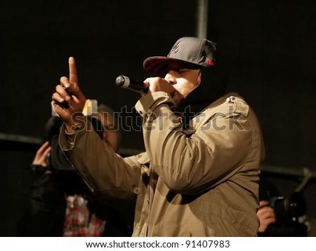 STUTTGART, GERMANY - DECEMBER 17: Hip hop musician TRIJO performs on in a December 17, 2011 in Stuttgart-Wasen, Germany. - stock photo