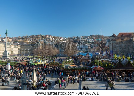 STUTTGART, GERMANY - 06 December 2015: Traitional Christmas market in the center of Stuttgart. Annual Stuttgart Christmas market is one of the oldest in the world - stock photo