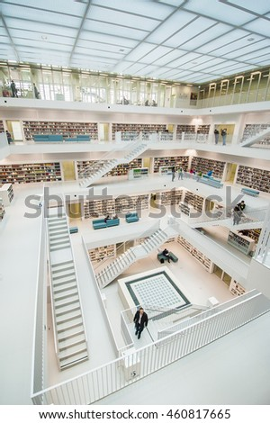 STUTTGART, GERMANY - FEB 11: Interior view from top floor of Stuttgart City Library. The library was built in 2011 and is known for its distinctive design with white walls and geometrical arrangement