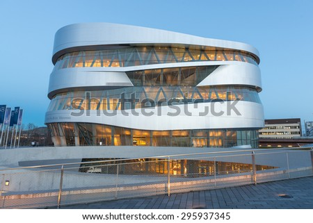 STUTTGART, GERMANY - February 20, 2014: Spectacular modern architecture and home of  Museum Mercedes-Benz Welt in Stuttgart, shot at  HDR Golden Hour. - stock photo