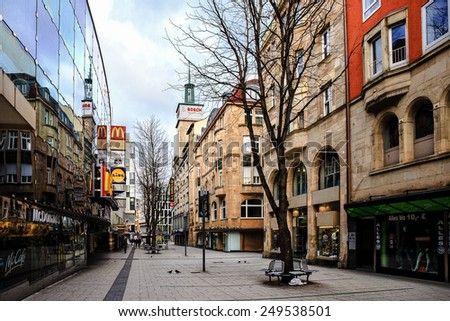 STUTTGART, GERMANY - JANUARY 25 2015: City of Stuttgart. Modern and Old Buildings in the swabian capital of Baden Wurttemberg. Lovely and Picturesque Architecture.