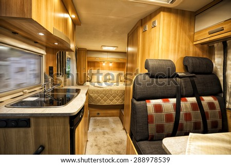 Stuttgart, Germany, 17 January 2015: Interior of luxury motorhome, caravanning, motoring and tourism trade. - stock photo