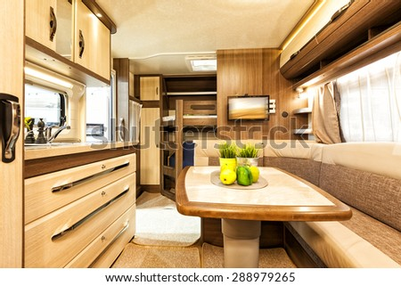 Stuttgart, Germany, 17 January 2015: Interior of recreational vehicle, caravanning, motoring and tourism trade. - stock photo