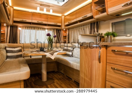 Stuttgart, Germany, 17 January 2015: Living quarters in luxury motorhome, caravanning, motoring and tourism trade. - stock photo