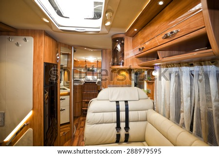 Stuttgart, Germany, 17 January 2015: Luxury motorhome, caravanning, motoring and tourism trade. - stock photo