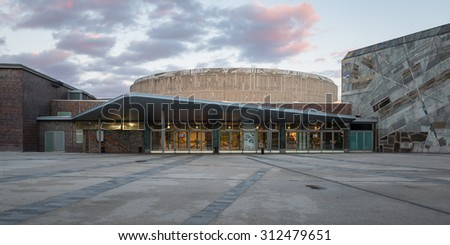 Stuttgart, Germany - January 10, 2014: The Liederhalle in Stuttgart is a Concert and Congress Center build shortly after the second World War.